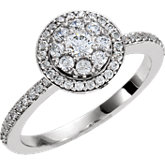 Diamond Halo Cluster Engagement Ring, Semi Mount or Mounting