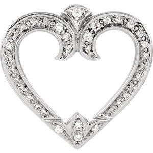 Diamond Heart Pendant Slide or Mounting