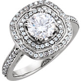Diamond Double Halo-Style Semi-mount Engagement Ring or Mounting