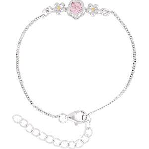 "Sterling Silver BFlower™ Rose CZ 6.5-7.5"" Bracelet"