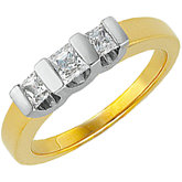 5/8 CTW Princess-Cut Diamond Two-Tone 3-Stone Ring