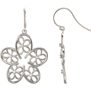 Sterling Silver 1/6 ATW Diamond Floral Design Earrings