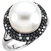 South Sea Cultured Pearl & Black & White Diamond Ring