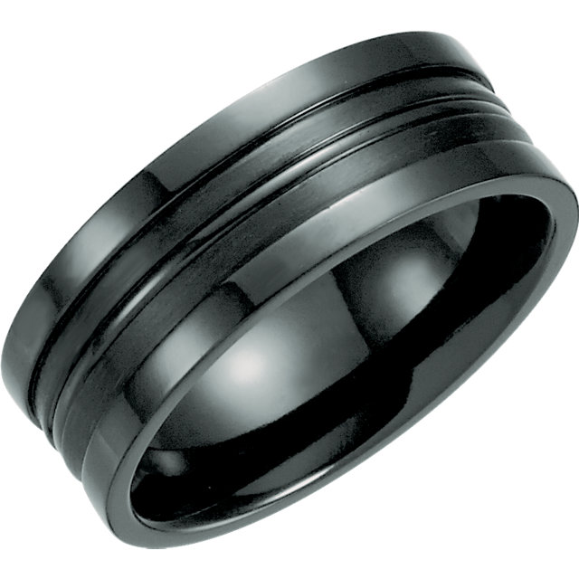 Black Titanium 8mm Grooved Band Size 12.5