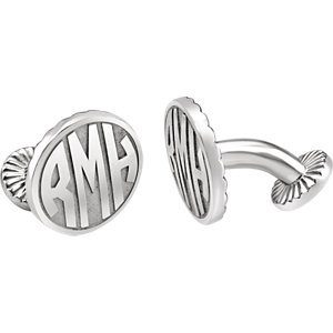16.5mm 3 Letter Block Monogram Cuff Links  Ref 651571