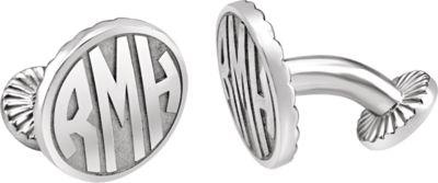 Sterling Silver 16.5mm 3-Letter Block Monogram Cuff Links