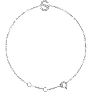 "14K White .05 CTW Diamond Initial ""S"" 6-7"" Bracelet"