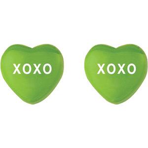 Green Enamel XOXO Heart Shaped Earrings Ref 85510107