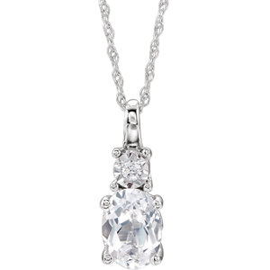 14K White Created White Sapphire & .02CTW Diamond Necklace