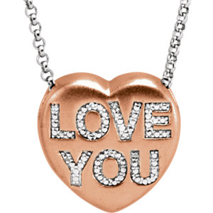 ".02 CTW Diamond ""Love You"" Heart Necklace"