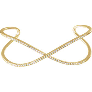 "14K Yellow 3/4 CTW Diamond Criss-Cross Cuff 7"" Bracelet"