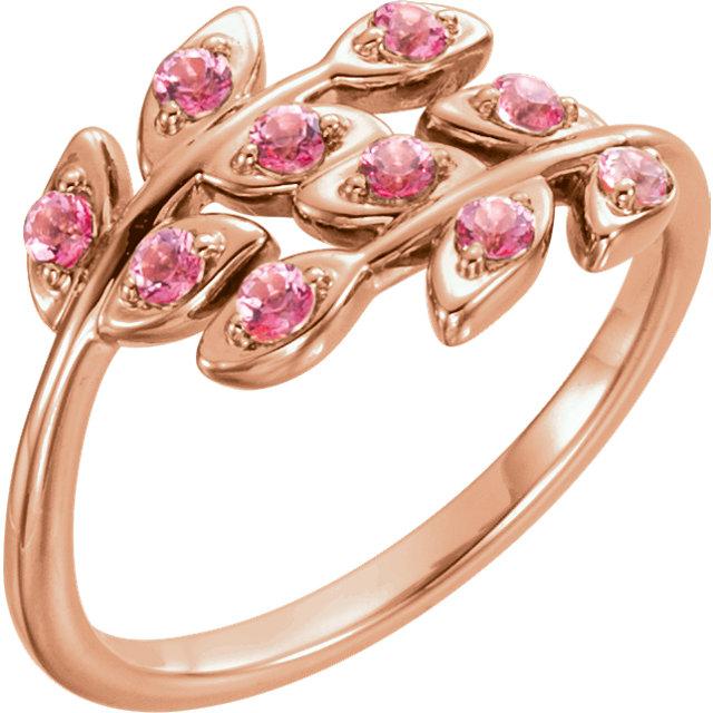 14kt Rose Baby Pink Topaz Leaf Design Ring