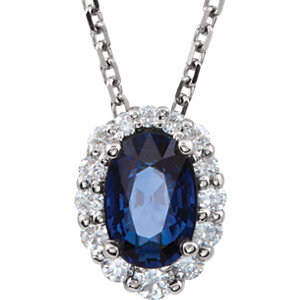 Blue Sapphire & Diamond Graduated Cluster Necklace or Pendant Mounting