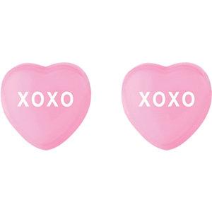 Dark Pink Enamel XOXO Heart Shaped Earrings Ref 85510110