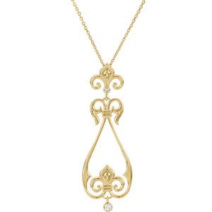 Fleur-De-Lis Design Scroll Pendant or Necklace