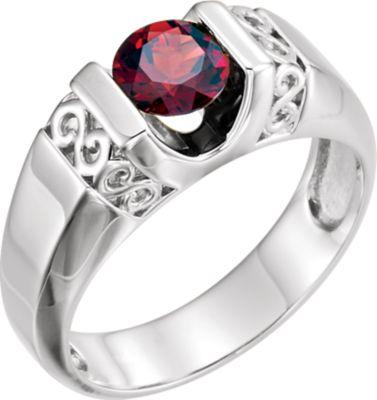 14kt White Men's Mozambique Garnet Ring
