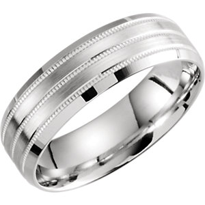 Lightweight 6.5mm Grooved Double Milgrain Band
