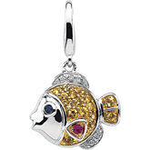 Genuine Multicolor Sapphire & Diamond Fish Charm