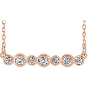 14K Rose 1/5 CTW Diamond Bezel Set Bar Necklace