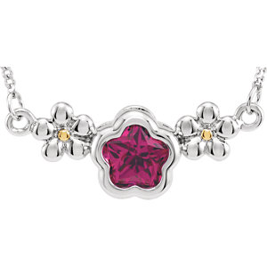 """Sterling Silver FUSHIA Cubic Zirconia BFlower™ 15-17"""" Necklace with Box"""