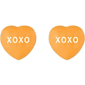 Orange Enamel XOXO Heart Shaped Earrings Ref 85510108