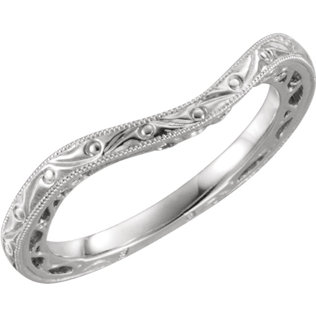 14K White Hand-Engraved Band