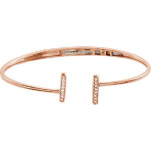 14K Rose 1/6 CTW Diamond Bar Hinged Cuff Bracelet