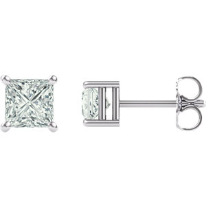 Created Moissanite Princess/Square 4-Prong Earrings