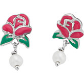 Disney® Belle Rose & Pearl Earrings