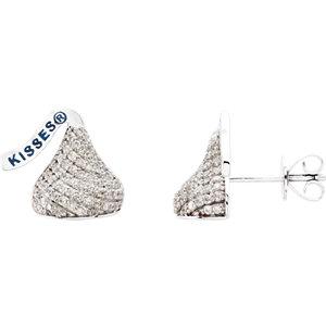 14kt White HERSHEYS<br> KISSES Flat Back 1/  ATW<br> Diamond Stud Earrings