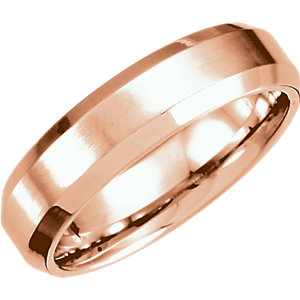 Beveled Edge Fancy Carved Band 6mm with Satin Finish