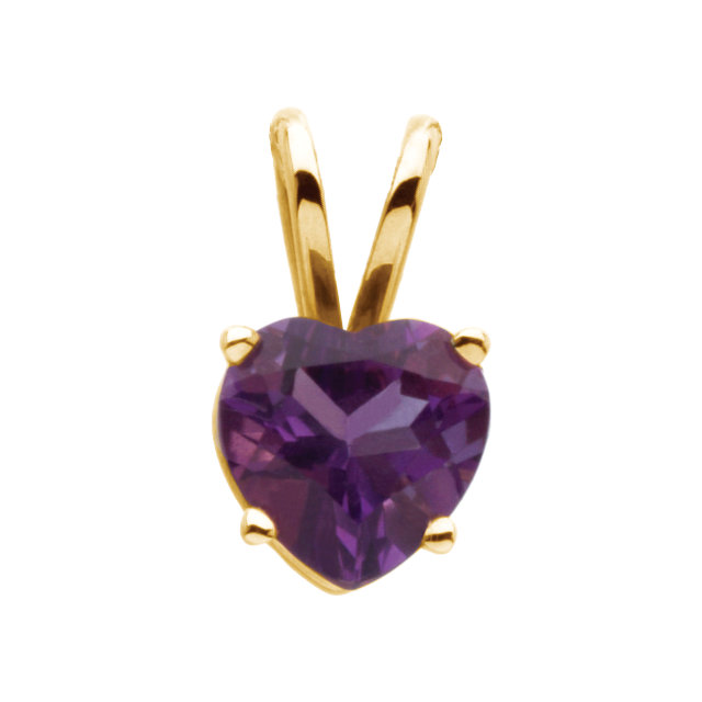 14K Yellow 6mm Amethyst Heart Pendant