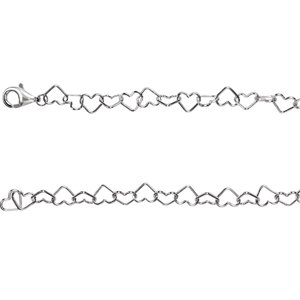 "Sterling Silver 6mm Heart Link 7.25"" Chain"