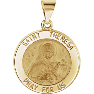 14kt Yellow 18.5mm Round Hollow St. Theresa Medal