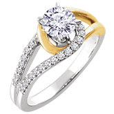 Diamond Semi-mount Interlocking Engagement Ring or Band