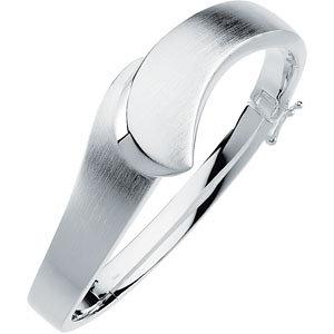 Sterling Silver 19.5mm<br> Hinged Bangle Bracelet