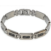 Stainless Steel Bracelet with Carbon Fiber Inlay