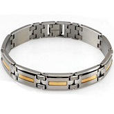 Two Tone Bracelet Stainless Steel with 14kt yellow inlay