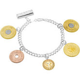 5 Coin Subway Token Sterling Silver Bracelet