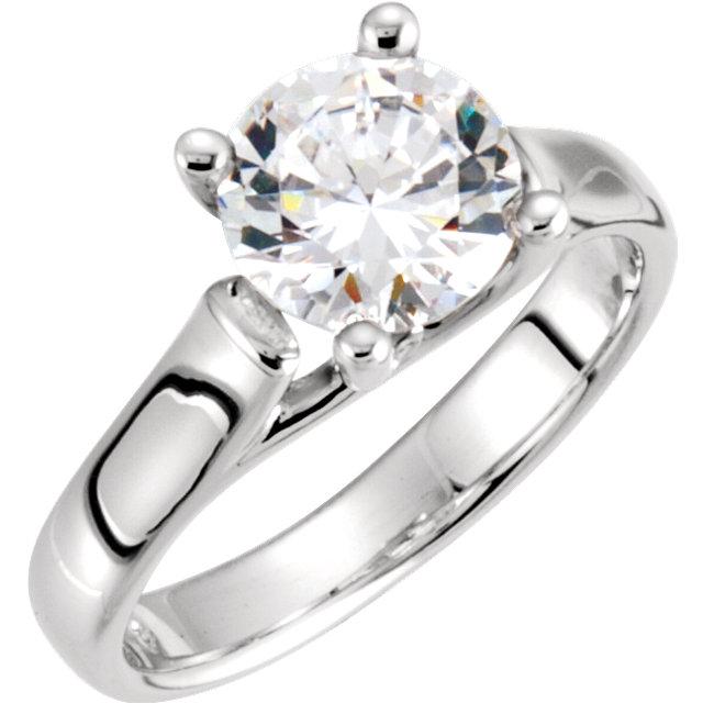 14K White Cubic Zirconia Engagement Ring