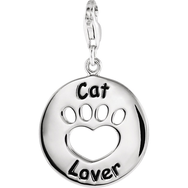 Sterling Silver Heart U Back™ Cat Lover Paw Charm