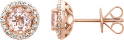 14kt Rose Morganite & 1/5 CTW Diamond Earrings
