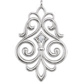 Fleur-de-Lis Scroll Dangle Component with Jump Ring for Round Stone