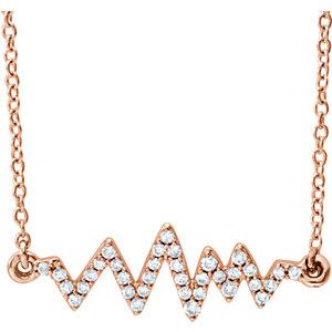 """14K Rose 1/6 CTW Diamond Heartbeat 16-18"""" Necklace"""