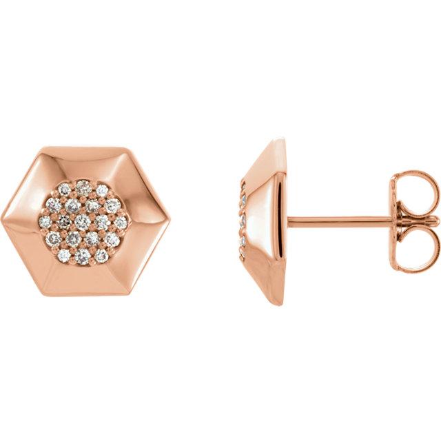14K Rose 1/6 CTW Diamond Geometric Earrings with Backs