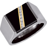 Titanium Ring with 14kt Yellow Inlay, Onyx & .07 ct tw Diamonds