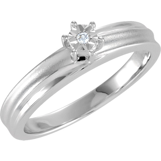 Sterling Silver .02 CTW Diamond Illusion Engagement Ring Size 9
