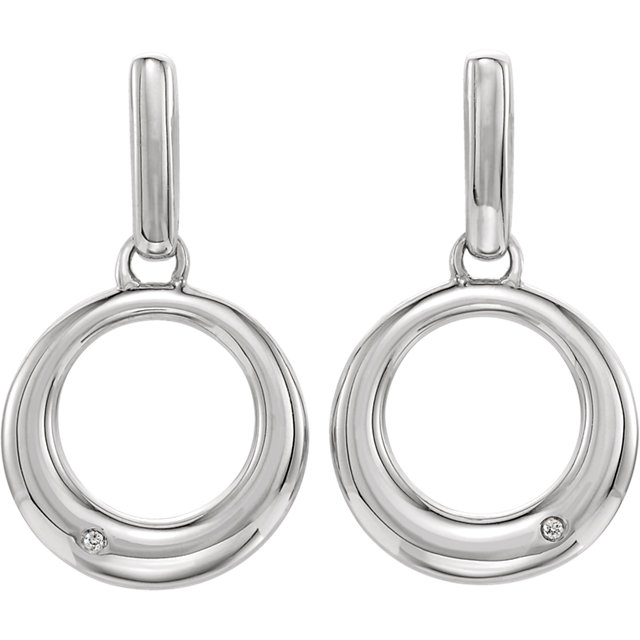 Sterling Silver .02 CTW Diamond Circle Earrings