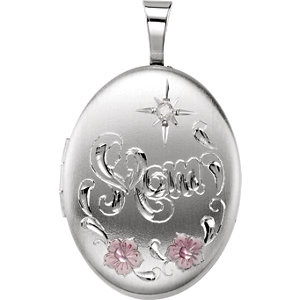 Diamond Oval Mom Locket