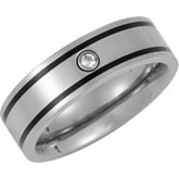 Titanium Band with Black Enamel & .05 ct Diamond
